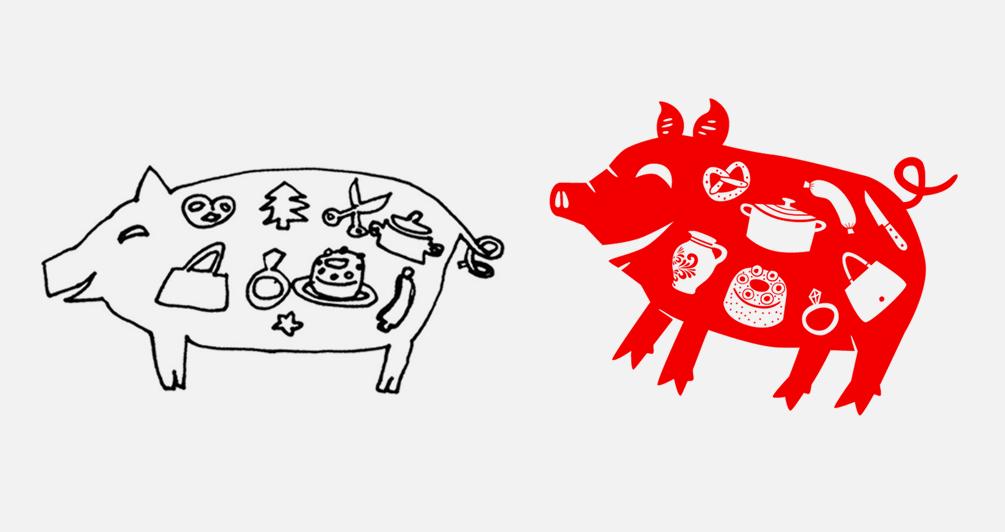 Scherenschnitt als Neujahrsgruß für chinesische Touristen